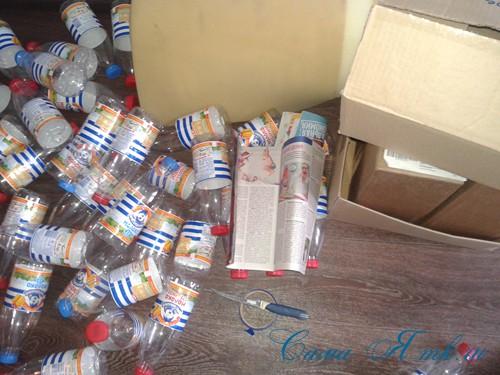 Пуфик из пластиковых бутылок своими руками как сделать пуф из пластмассовых 5-литровых и других бутылок Пошаговая схема для начинающих